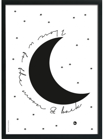 Poster 'I love you to the moon and back'