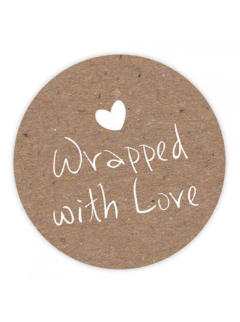 Sluitzegels 'Wrapped with love' per 6 stuks